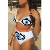 Lovely Sexy Printed White Knitting Two-piece Swimw