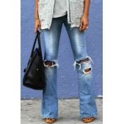 Lovely Casual Hollowed-out Blue Jeans