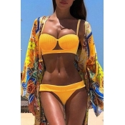 Lovely Casual Spaghetti Strap High-Leg Yellow Bikinis