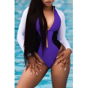 Lovely Trendy Color Lump Patchwork Purple One-piece Swimwears