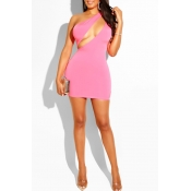 Lovely Sexy One Shoulder Pink Mini Dress