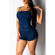 Lovely Women s Sexy Backless Dark Blue Romper(With