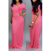 Lovely Casual Striped Rose Red Floor Length Maxi Dress