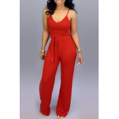 Lovely Casual Lace-up Red One-piece Jumpsuit(With Elastic)