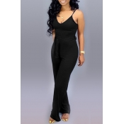Lovely Casual Lace-up Black One-piece Jumpsuit(With Elastic)