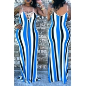 Lovely Casual Striped Floor Length Maxi Dress(With