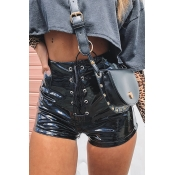 Lovely Fashion Lace-up Black PU Shorts