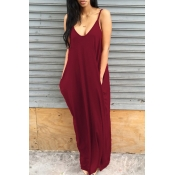 Lovely Casual V Neck Asymmetrical Wine Red Blending Floor Length Dress