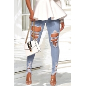 Lovely Fashion Hollow-out Light Blue Jeans