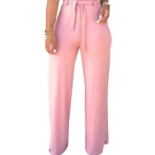 Lovely High Waist Lace-up Pink Pants(With Elastic)