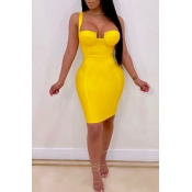 Lovely Sexy Sleeveless Yellow Mini Dress(With Elas