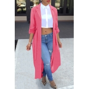 Lovely Casual Long Sleeve Light Pink Chiffon Coat