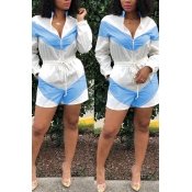 Lovely Casual Zipper Design Blue Rompers(With Elas