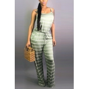 Lovely Casual Striped Green Jumpsuit(With Elastic)