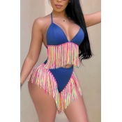 Lovely Sexy Tassel Design Blue Two-piece Swimwear