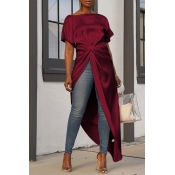 Lovely Casual Asymmetrical Wine Red Blouses