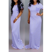 Lovely Casual Striped Baby Blue Floor Length Maxi Dress