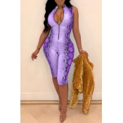 Lovely Sexy Printed Purple Twilled Satin One-piece Rompers