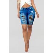 Schöne Lässig Gebrochene Löcher Dunkelblaue Jeans