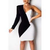 Lovely Chic Patchwork Black And White  Mini Dress