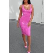 Lovely Sexy U Neck Sleeveless Pink Knee Length Dre