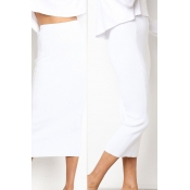 Lovely Casual Straight White Ankle Length Skirts
