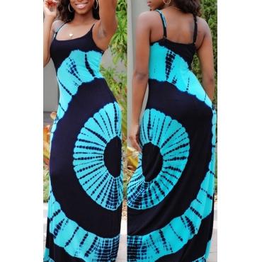 Lovely Casual Sleeveless Printed Light Blue Floor Length Dress