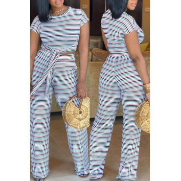 Lovely Casual Striped Blue Blending Two-piece Pants Set