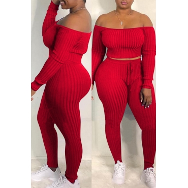Lovely Casual Dew Shoulder Red Blending Two-piece Pants Set
