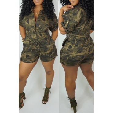 Lovely Casual Camouflage Printed One-piece Romper