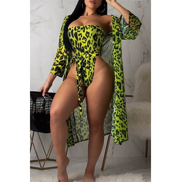 Lovely Sexy Printed Green One-piece Swimwears (With CoverUps)