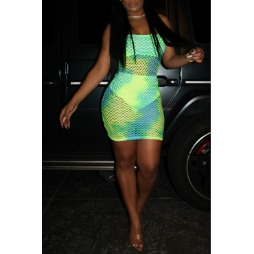 Lovely Sexy U Neck Hollowed-out Green  Mini Dress (With Underwear)