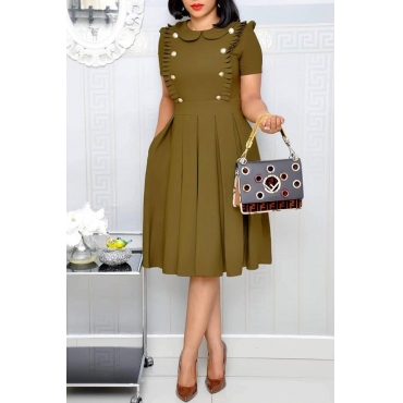 Lovely Sweet Ruffle Design Army Green Knee Length Dress