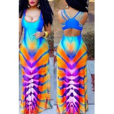 Lovely Sweet Gradual-change Color Floor length  Dress
