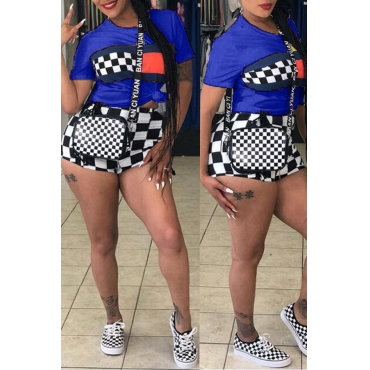 Lovely Casual Plaid Printed Royal Blue Two-piece Shorts Set