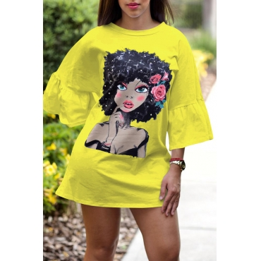 Lovely Sweet Portrait Printed  Yellow Mini T-shirt Dress