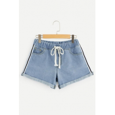 Lovely Casual Loose Baby Blue Denim Shorts