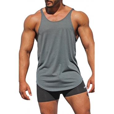 Lovely Casual Solid Grey Cotton Vest