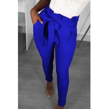 Lovely Trendy Lace-up Blue Pants