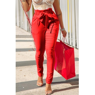Lovely Trendy Lace-up Red Pants
