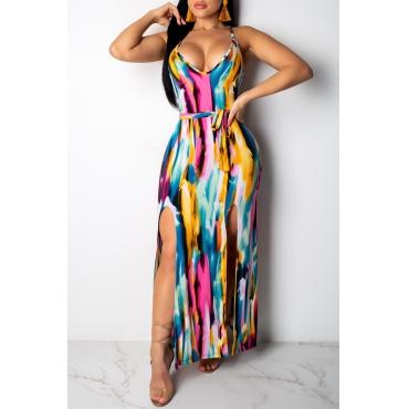 Lovely Women s Printed Spaghetti Strap Pink Dress