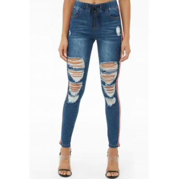 Lovely Stylish Broken Holes Striped Dark Blue Jeans