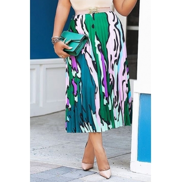 Lovely Casual Print Green Ankle Length A Line Skirts