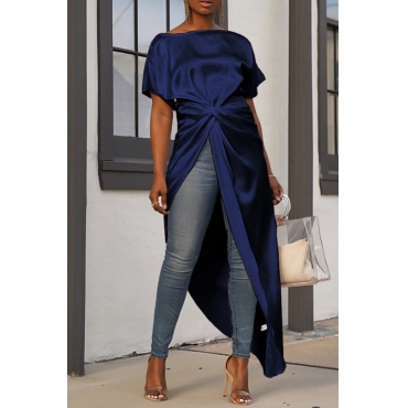 Lovely Casual Asymmetrical Dark Blue Blouses
