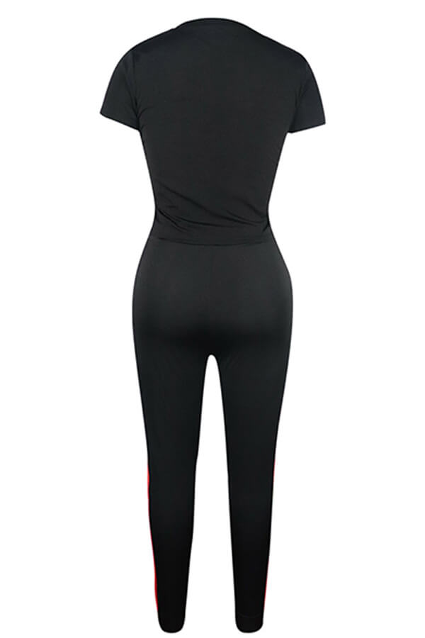 Lovely Leisure Patchwork Black Two-piece Pants Set