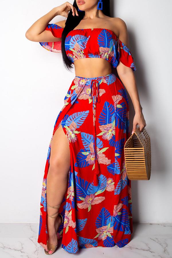 Lovely Trendy Floral Printed Side High Slit RedTwo-piece Skirt Set