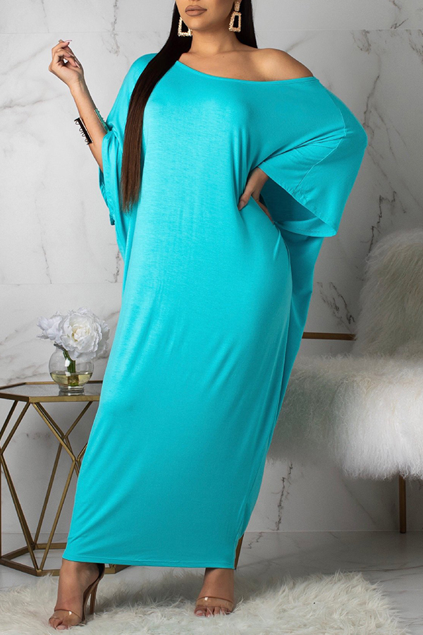 Lovely Casual Batwing Sleeve Loose Baby Blue Ankle Length Dress