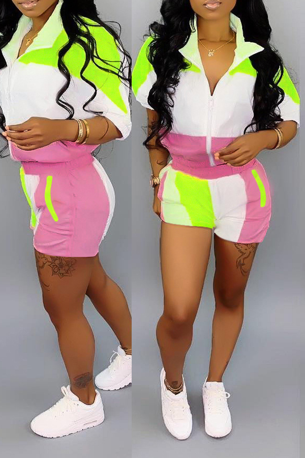 Lovely Casual Patchwork Green Two-piece Shorts Set