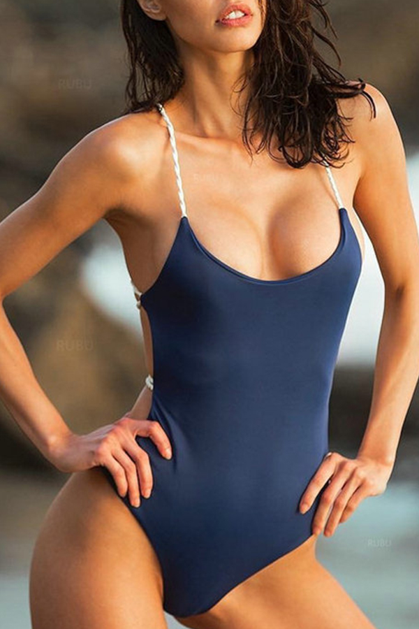 Lovely Sexy Lace-up Backless Dark Blue One-piece Swimwear