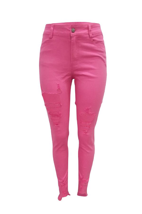 Lovely Casual High Waist Broken Holes Light Pink Jeans